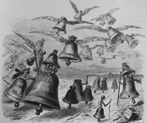 Le voyage des cloches à Rome gravure de Granville
