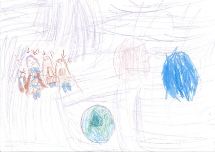 children's drawing planet earth and family in space